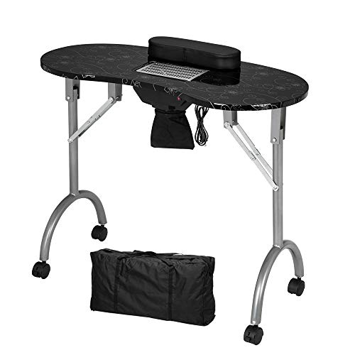 Mefeir Manicure Nail Table w/Electric Dust Collector, Foldable MDF Laminated Home Nail Beauty Technician Desk, Spa Salon Workstation with Client Wrist Pad & Carrying Bag