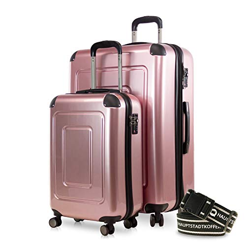 Happy Trolley - 2er Koffer-Set Trolley-Set Rollkoffer Hartschalen-Koffer Reisekoffer Lugano sehr leicht, TSA, (S+XL), Rosegold +Gepäckgurt