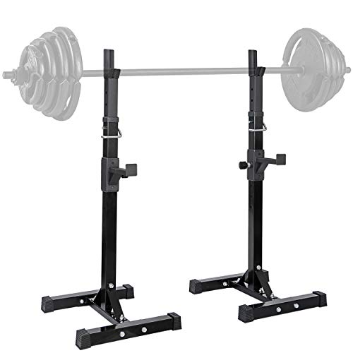 """lensun Pair of Adjustable Height and Width 40""""- 66"""" Extremely Sturdy Steel Squat Rack Barbell Free Bench Press Stands Home Gym Portable Dumbbell Racks Stands Dipping Station, Max Load 560Lbs"""