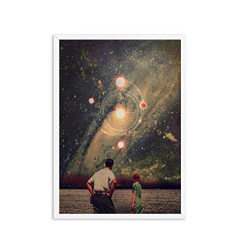 Bricolaje Colores Números Pintado Digital Pintura Lienzo Painting Kits Surrealismo Galaxy Espacio Luna Noche Cielo Azul Tierra Arte Decoración Regalo-60X80cm