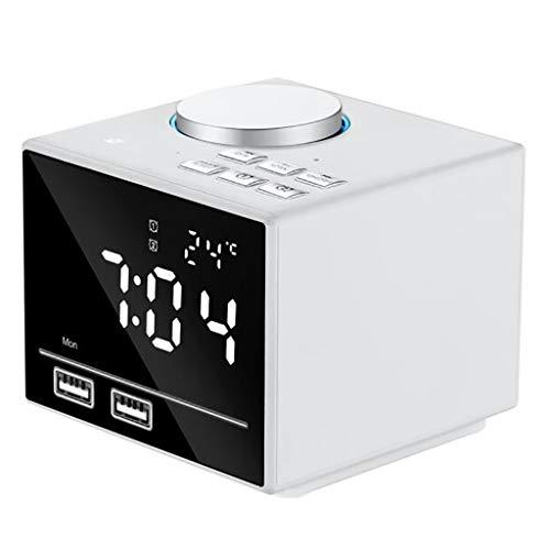 Dual USB-lader alarm LED klok snooze-functie, Bluetooth muziekspeler, Smart Wireless FM-radio, kleur elektronisch licht klok binnenthermometer 12/24 h Wit
