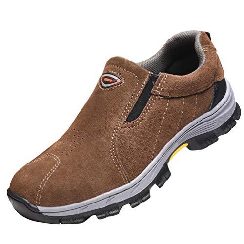 YiLianDaD Zapatillas de Seguridad Hombre Zapatos con Punta de Acero Calzado de Trabajo Comodos y Ligeros Transpirables Marrón
