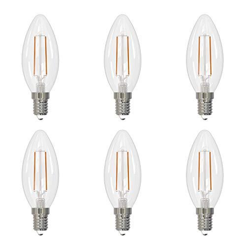 Umi by Amazon - Bombilla vela LED C37 con casquillo Edison de rosca fina E14, 2,1 W (equivalente a 25 W), 15 000 horas, con  filamento de cristal transparente, blanco cálido (2700 K) (paquete de 6)