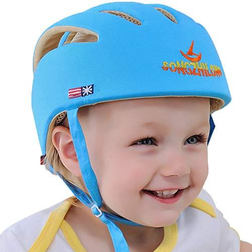 IULONEE Baby Helm Kleinkind Schutzhut Kopfschutz Baumwolle Hut Verstellbarer Schutzhelm Blau