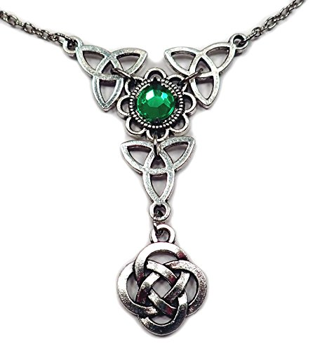 Celtic Triple Triquetra Tinity Knot Silver Necklace Bright Green