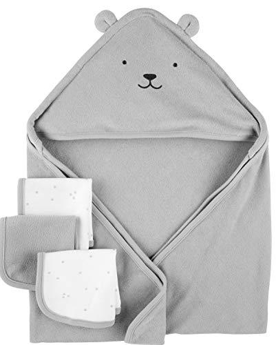 Carters Hooded Towels & Washcloths Set, 4pc, Grey Bear
