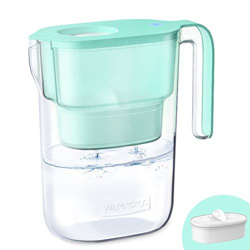 Waterdrop NSF Zertifizierte Wasserfilterkrug 2.5 Liter mit 1×90 Tage Filterkartusche, 7-Stufige Filteration zur Reduzierung von Chlor, Geruch und Mehr, BPA Frei, Grün