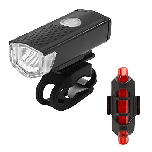 Casualcatch 2 Stücke Fahrrad Lichter Wiederaufladbare 300 Lumen Fahrrad Led-leuchten Vorne Scheinwerfer + Hinten Rücklicht USB Fahrrad Taschenlampe Warnleuchten