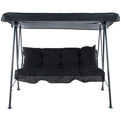 PATIO 3-Sitzer Hollywoodschaukel Tora 138 cm Gartenschaukel Schaukelbank Sonnendach Rückenkissen Sitzpolster mit Volant