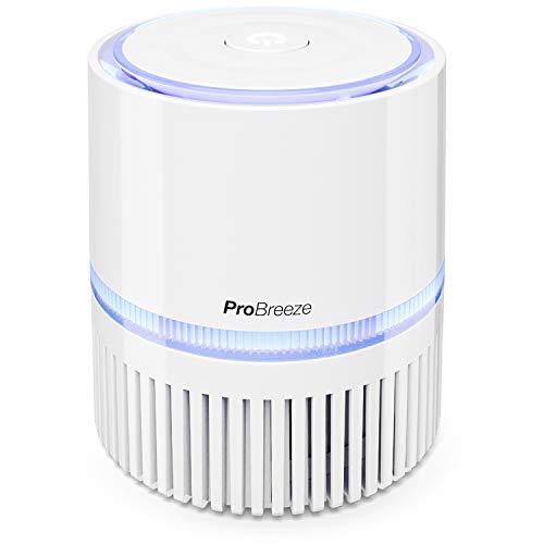 Pro Breeze Purificador de Aire Mini con Auténtico Filtro HEPA e Ionizador - Limpiador de Aire Personal de Escritorio con Luz Nocturna - para Hogar, Trabajo, Oficinas | USB y Alimentación Principal