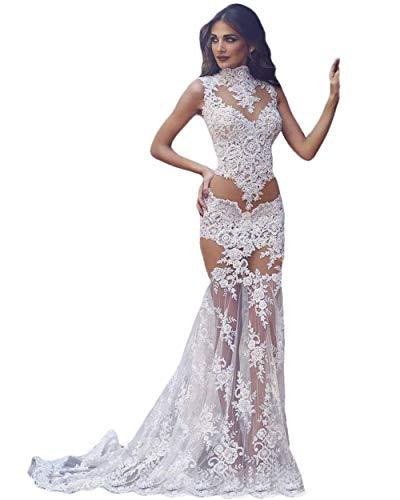 Damen Transparent Brautkleider High Neck Meerjungfrau Spitze Illusion Mieder Sheer Rock Lang Braut Hochzeit Erste Nacht Kleider - Elfenbein - 50 Mehr