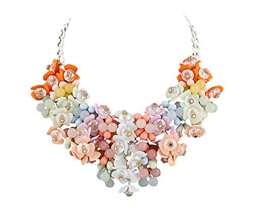 DELEY Donne di Colore di Candy Cluster di Cristallo Floreali in Rilievo Choker Bavaglino Deco Collare Collana Colorato