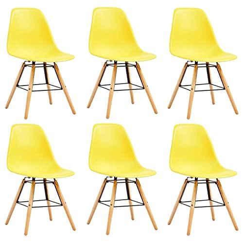 Sedie da Pranzo 6 Pezzi Comode sedie Laterali da caffè con Schienale Curvo per Lounge Ufficio Pranzo Cucina plastica Gialla