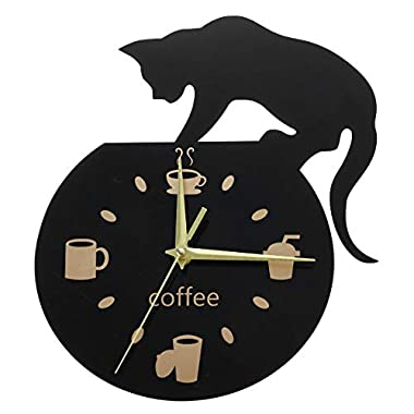 WINOMO Silent Cartoon Wall Clock Cute Climbing Cat for Drinking Coffee Clock Wall Decoration Cup Coffee Clock