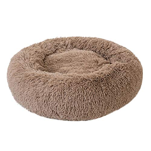 Bluelucon Pet Supply Pluche ronde nest voor huisdieren, pluche hondenholle ronde zachte kattenbank rond donut bed winter kleine honden katjes grot slaapbed rond kussen sofa