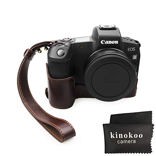 kinokoo Half Case für Canon EOS R schützender Bottom Case-Griff, mit Handschlaufe (Kaffee-echt)
