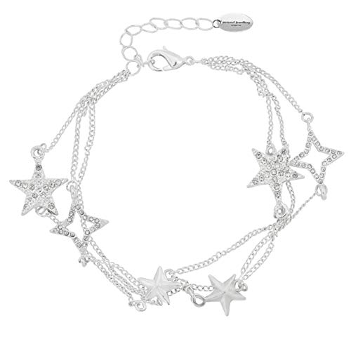 Hemelse Sparkling Star Triple Layer Bedelarmband 18ct Goud of Silver Plated Crystal Effect Charms Drie gelaagde meerlaagse sterren armband voor vrouwen 20cm