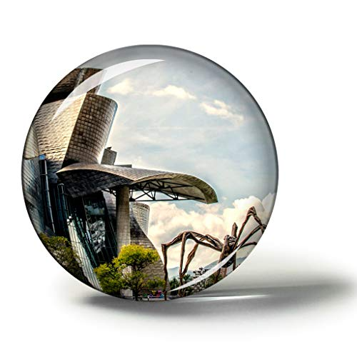 Hqiyaols Souvenir España Museo Guggenheim Bilbao Imanes Nevera Refrigerador Imán Recuerdo Coleccionables Viaje Regalo Circulo Cristal 1.9 Inches