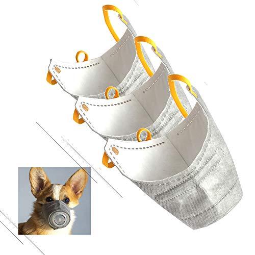 Decdeal 3 Stück Hunde Schutzmaske Verstellbare Staubmaske Schützen vor Nebel Staub Smog Pollen usw.