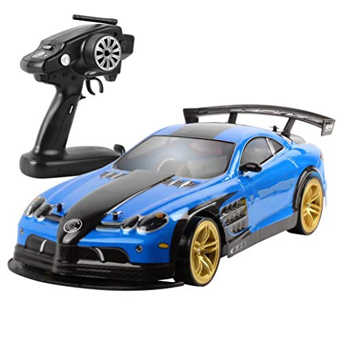 HSKB 1/10 2.4G RC Auto , 70 KM / H Jeep Fahrzeug Allradantrieb LED Scheinwerfer Racing Stunt RC-Fahrzeug RTR On Road Toys Ferngesteuertes Elektro High Speed Wüstenbuggy Racing (Blau)