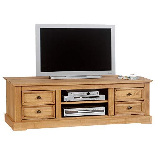 IDIMEX Meuble TV Kent en pin Finition cirée, 4 tiroirs + 2 niches
