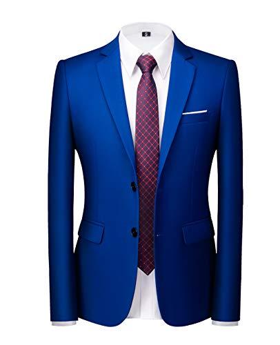 Chaqueta de traje para hombre, entallada, para uso diario, negocios, boda, fiesta, Azul Royal, 40