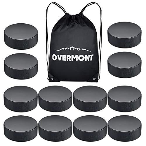 Overmont Ice Hockey Pucks, 12 Pack Practice Hockey Pucks, Ice Hockey Balls Practice Hockey Pucks Sports Fan Hockey Pucks Ice with Gym Drawstring Bag