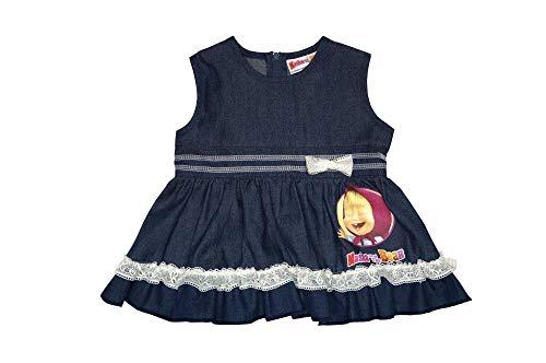 Mascha und der Bär Baby- Mädchen Kleid Größe 68 74 80 86 92 98 104 110 116 122 Baumwolle Masha and The Bear Festkleid, Freizeitkleid Jeans-Kleid Größe 86