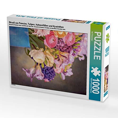 CALVENDO Puzzle Strauß aus Freesien, Tulipen, Hahnenfüßen und Hyazinthen 1000 Teile Lege-Größe 48 x 64 cm Foto-Puzzle Bild von Val Thoermer