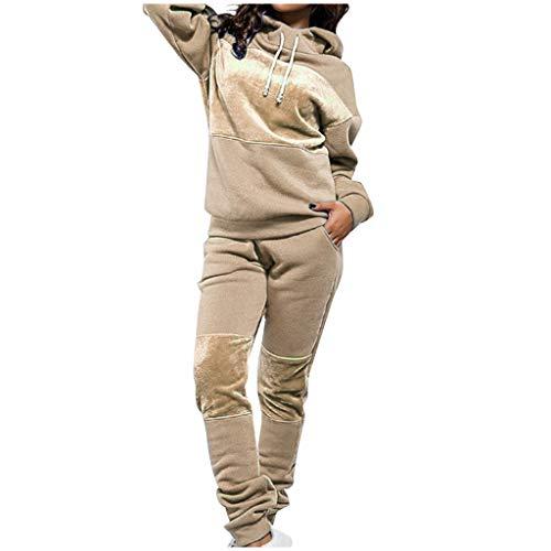 Trainingsanzüge Damen Hoodie-Sporthose Sweat Suit Europäische Amerikanische Sportanzug Herbst Winter Jogginganzug Neuer Sport Anzug Zweiteilige Sportswear-Sets, Khaki, Small