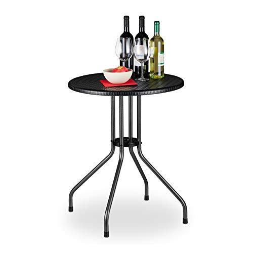 Relaxdays Tavolo Rotondo da Giardino, Aspetto Rattan, Tavolino da Balcone Bistrò Plastica e Metallo, HD: 74x60 cm, Nero