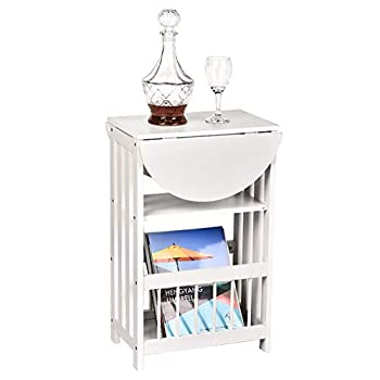 OKIDA Magazine End Table Adjustable Chair Sofa Side Table Multifunction Bedroom Nightstand Small Coffee Snack End Table with Rotating Foldable Top and 3-Tier Shelf  White