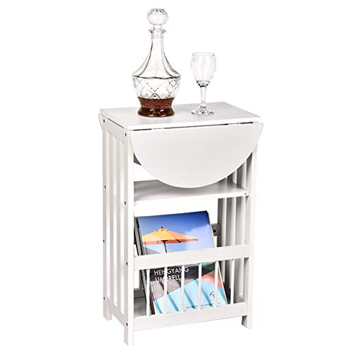 OKIDA Magazine End Table, Adjustable Chair Sofa Side Table, Multifunction Bedroom Nightstand, Small Coffee Snack End Table with Rotating Foldable Top and 3-Tier Shelf (White)