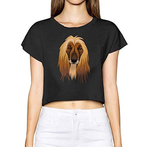 Women's Crop Top T-Shirt Afghan Hound Loose Navel Tee