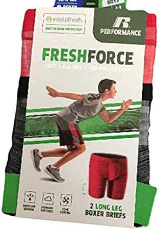 Russell Performance Fresh Force Boys IntelliFresh 2 Pack Long Leg Boxer Briefs Sports Small Red Grey