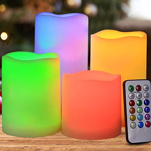 HOME MOST Set of 4 Flickering Flameless LED Pillar Candles with Remote & Timer 3x3 3x4 3x5 3x6 Multi Colored - Unscented Battery Operated Outdoor Pillar Candle Waterproof Bulk - Color Changing Candles