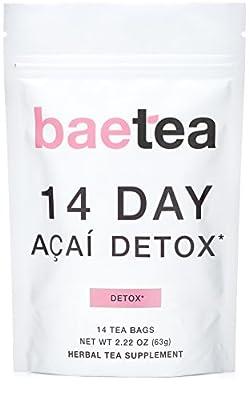Baetea 14-Day Acai Herbal Detox Tea Supplement with Acai Berry & Goji Berry, 14 Tea Bags