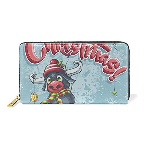 Cartel De Feliz Navidad Toro Billetera Mujer Cremallera Billetera de Cuero Cartera...