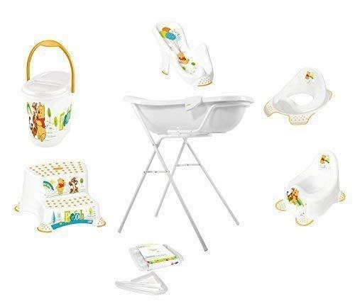 9er Set Z Disney Winnie Pooh Blanc Baignoire XXL 100 cm + Support Baignoire Bébé + Siège + Pot + Toilette+ Tabouret+ Sceau à Couches +Tuyau Flexible de Sortie + Gant