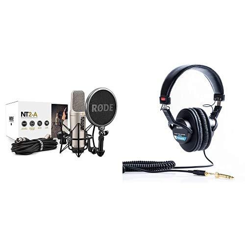 Rode Microphones NT2-A Complete Bundle, Microfono a Condensatore, Doppio Diaframma Largo, Risposta Polare Cardioide/Omni/Figura 8 & Sony MDR-7506 Cuffie Stereo, Dinamiche Professionali, Driver