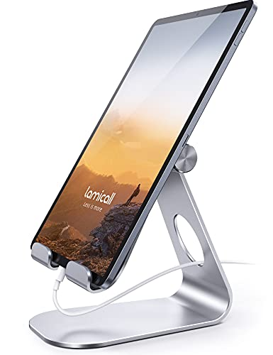Lamicall Verstellbare Handy Ständer, Tablet Ständer, Tablet Staender, Universal Halter, Halterung, Dock für 2020 iPad Pro 9.7, 10.5, 12.9, iPad Air 2 3 4, iPad Mini 2 3 4, Samsung Tab - Silber