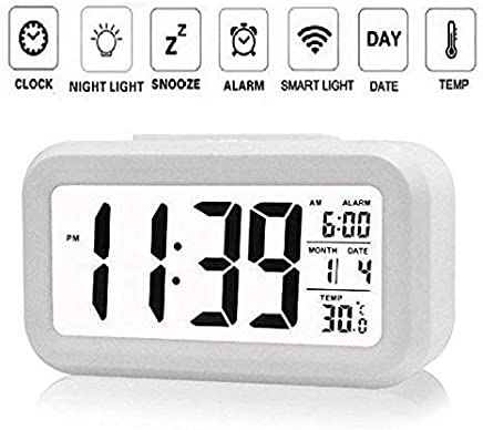 DELIGHT Smart Digital Alarm Clock for Bedroom with Automatic Sensor Backlight,Date & Temperature (Black Or White)