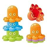 freneci 6x Juguetes de Baño de Dibujos Animados Lindos Tazas de Apilamiento Juguete Educativo para Niños para Niños