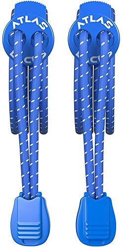 Atlas Laces - Elastische Schnürsenkel m. Schnellverschluss - Innovativem Sportler-freundlichem Schnellschnürsystem - Die perfekten Schuhbänder für Triathlon Athleten, Kinder, Senioren (Blau)
