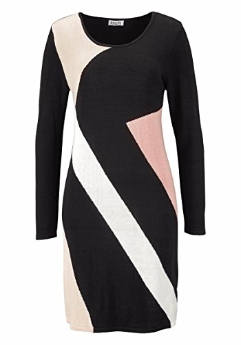 Boysen's Kleid Strickkleid figurbetont schwarz-beige 32-34