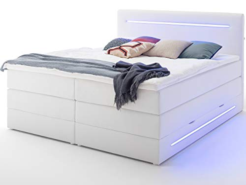 Wonello Boxspringbett 180x200 mit Bettkasten und LED Beleuchtung - gemütliches Bett mit led Beleuchtung - Stauraumbett 180 x 200 cm weiß mit Matratze und Topper