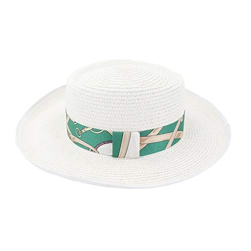 LHZUS Sombrero de paja de verano con tapa plana para mujer, sombrero de paja para playa, toalla de jazz retro de ala ancha (color: blanco, tamaño: 56-58 cm)