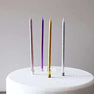 Astra Gourmet 12pcs Party Long Thin Metallic Cake Candles for a Birthday Party Assorted Colors
