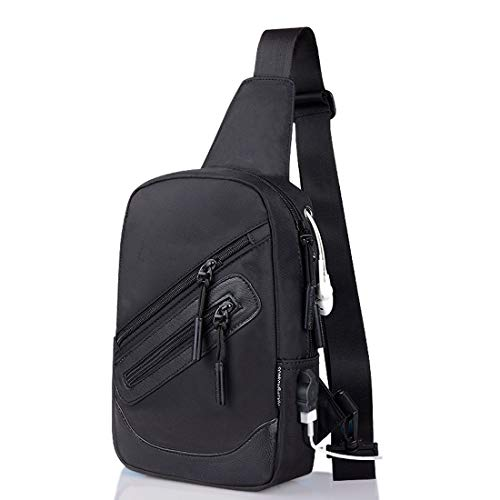 DFV mobile - Backpack Waist Shoulder Bag Nylon Compatible with Ebook, Tablet and for LG V60 ThinQ 5G (2020) - Black