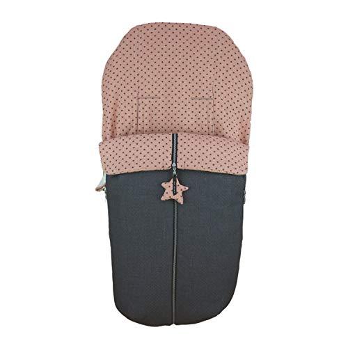 Saco Silla de Paseo Universal Rosy Fuentes- Saco Carrito Bebé - Funda de silla de paseo - Equipado para ser Ajustado perfectamente - Elaborado en Piqué y estampado en estrellas - Color rosa empolvado